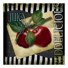 juicy red apples vintage kitchen poster