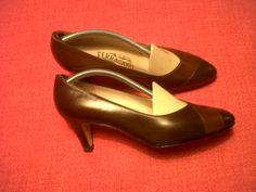 60s Ferragamo decolleté with double brown colour on tip