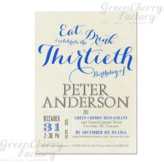 Milestone Adult Birthday Invitation Gray by GreenCherryFactory, $18.00