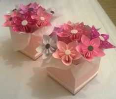 Cajas de flores de origami