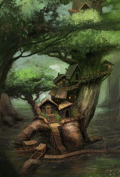 Forest Cottage, Storybook Cottage, Forest House, Fantasy Forest, World Of Fantasy, Fantasy House, Fantasy Landscape, Landscape Art, Jungle Images