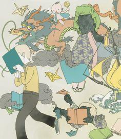 LecturImatges: la lectura en imatges  Imagínate, vive la lectura! (ilustración de Fumi Mini Nakamura)