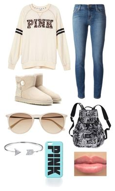 Uggs and Victoria's Secret by sarahpeaceandlove on Polyvore featuring Victoria's Secret PINK, J Brand, UGG Australia, Victoria's Secret, Bling Jewelry and Witchery