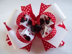 Red and white Miss Minnie Hair Bow.  Perfect for a visit to Disney or just to dress up an outfit. Clip bow to a blue headband for a red white and blue 4th of July Bow. $8.00   http://www.etsy.com/shop/JustinesBoutique
