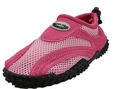 Womens Wave Water Shoes Pool Beach Aqua Socks  FuchsiaPink Black wBlack Emblem  7 *** Click image for more details.