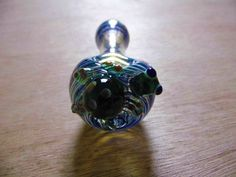 Hand Blown Spoon Glass Pipe with Turtle by FallingKarmaGlass
