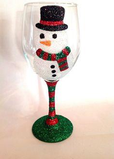 Snowman glitter wine glass by GlittersGalore on Etsy
