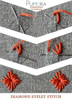 Crewel Embroidery Tutorial diamond eyelet stitch tutorial - Learn how to embroider with the lexicon of embroidery stitches. Step by step tutorials on how to do the straight stitch and it's variations. Embroidery Stitches Tutorial, Sewing Stitches, Crewel Embroidery, Hand Embroidery Patterns, Embroidery Techniques, Ribbon Embroidery, Cross Stitch Embroidery, Embroidery Kits, Handkerchief Embroidery