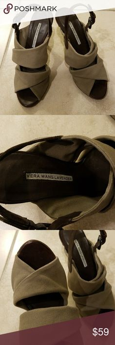 Vera Wang Shoes Vera Wang Sandal heel 4inches. Worn 3 times. Like new condition. Very cute and comfy. Adjustable strap. Made in Italy Vera Wang Shoes Sandals