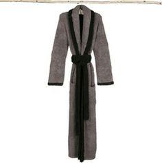 Barefoot Dreams Adult Robe CozyChic Contrast Trim Charcoal/Midnight BD559CHMD