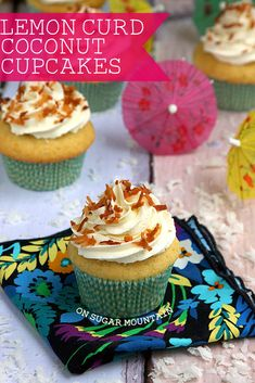 Lemon Curd Filled Coconut Cupcakes