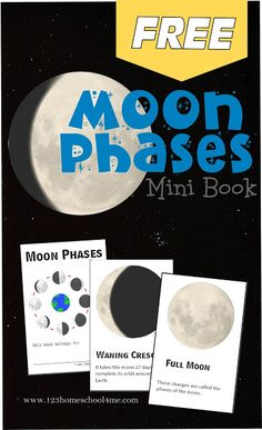 Moon Phases - FREE printable mini book to help kids learn about the different moon phases. Great for an astronomy unit, using a telescope, or as a pocket guide to take while camping for a summer activity for kids. Great for homeschoolers and parents with Moon Activities, Space Activities, Summer Activities For Kids, Science For Kids, Science Activities, Solar System Activities, First Grade Science, Kindergarten Science, Elementary Science