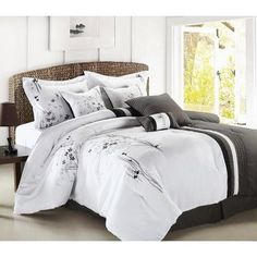 12pc ABQ. Black/White/Gray Luxury Size: King Sheet Set Color: Light Blue