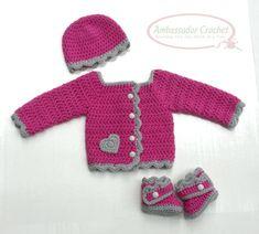 Crochet Pattern His & Hers Baby Layette Sets Sweater, Booties, Hat Pattern Set PDF 216 Baby Girl Crochet, Crochet Bebe, Newborn Crochet, Layette Pattern, Romper Pattern, Crochet Baby Sweaters, Crochet Clothes, Crochet Designs, Crochet Patterns