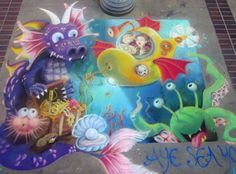 Aye Sea You, chalk mural, Jen Swain Chalk Drawings, Sea, Painting, Painting Art, Ocean, Paintings, Painted Canvas, Chalk Painting, Drawings