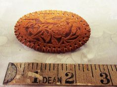 Retro Brown Leather Floral Detail Western Brooch