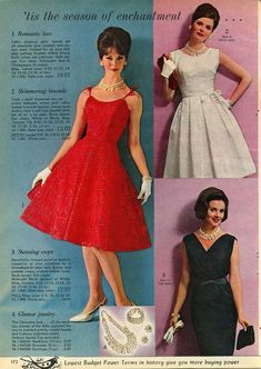 Lace, Brocade, and Crepe Evening Dresses From Spiegel 1962 Moda Vintage, Vintage Mode, Vintage Outfits, Vintage Dresses, 1960s Dresses, Nice Dresses, Skirt Fashion, Fashion Outfits, Womens Fashion