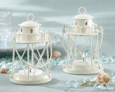 Lighthouse Tea Light Candle Favors plus more candle favors for your wedding, bridal shower or special event. Your guests will be delighted with these lighthouse wedding favors. Nautical Wedding Favors, Candle Wedding Favors, Candle Favors, Wedding Lanterns, Tealight Candle Holders, Wedding Decorations, Wedding Sparklers, Beach Wedding Centerpieces, Beach Table Decorations