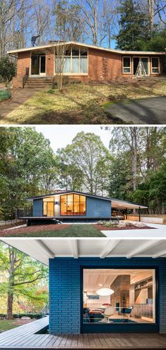 This mid-century modern house was given a fresh update by removing a badly built sunroom and painting the brown brick a bold blue.