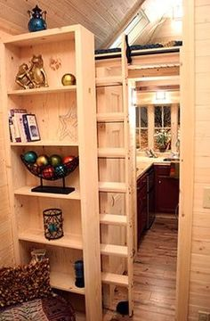 Sneaky Loft Ladder in the Cypress 20 Tumbleweed Tiny House, do you like? House Ladder, Tiny House Stairs, Library Ladder, House Slide, Attic Stairs, House Floor, Best Ladder, Tumbleweed Tiny Homes, Little Houses