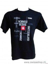 T-Shirt schwarz CH-Kreuzwort / T-shirt black CH crossword is for every Swiss fan in the world.