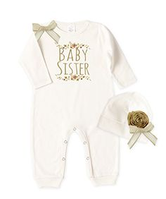 Baby Girl Ivory Long Sleeve Romper and Beanie, Baby Siste... https://www.amazon.com/dp/B06XL1L4BD/ref=cm_sw_r_pi_dp_x_9wRszbS2RQNRE