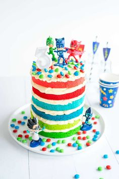 PJ Maks Birthday Cake an Easy DIY layered birthday cake idea for a little boys or little girls birthday party #kidsbirthdaycake #birthdaypartyideas #birthdaypartyidea #pjmasks