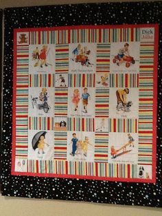 Dick and Jane theme quilt or wall hanging with set of books by QuiltsbyLaural on Etsy