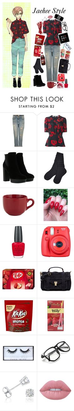 """""""Mystic Messenger Jaehee Style"""" by silentdoll ❤ liked on Polyvore featuring Current/Elliott, McQ by Alexander McQueen, Hogan, UGG, Pier 1 Imports, OPI, Fuji, Proenza Schouler, Huda Beauty and Amanda Rose Collection"""