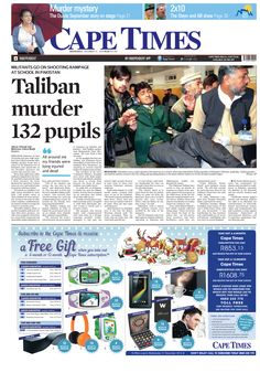 News making headlines: Taliban murder 132 pupils