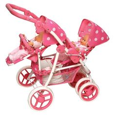 Badger Basket Reversible Double Doll Stroller for 16 in. Dolls - Pink Polka Dots - Take your baby dolls for a stroll with the Badger Basket Reversible Double Doll Stroller for 16 in. Designed with your doll's. Bb Reborn, Reborn Babies, Baby Doll Strollers, Baby Doll Accessories, Dolls Prams, Double Strollers, Baby Alive, Bitty Baby, Pink Polka Dots