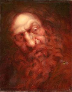 Bumble Bee is an original oil painting portrait of a wide eyed old man with wild curly red hair and long unkept red beard staring at a bee on his coat by Richard Lithgow
