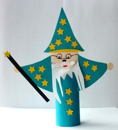 toilet paper roll wizard craft for kids Toilet Paper Roll Art, Rolled Paper Art, Toilet Paper Roll Crafts, Crafts To Do, Crafts For Kids, Arts And Crafts, Diy Crafts, Cardboard Tube Crafts, Craft Activities