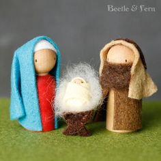 Sweet and Simple Peg Doll Nativity by BeetleAndFern on Etsy Nativity Crafts, Christmas Nativity, Felt Christmas, Felt Crafts, Holiday Crafts, Christmas Ornaments, Christmas Bells, Felt Ornaments, Diy Snowman Decorations