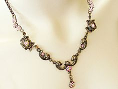 $45  Beautiful, romantic, Victorian style necklace with Swarovski crystals in pink.  Breathtaking gift necklace for yourself or for someone else!