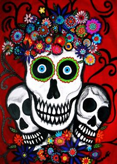 Mexican Day of the Dead  Folk Art Skulls Sugar by prisarts on Etsy, $30.00