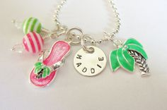 Hawaiian Necklace - Luau - Tropical - Palm Tree Necklace - Beach - Flip Flop Necklace - Personalized Necklace - Girls Necklace Personalized