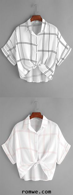 White Contrast Grid Print Knot Cuffed Blouse
