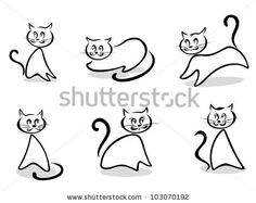 Cats and kittens symbols and emblems for pet design, such logo. Vector version also available in gallery