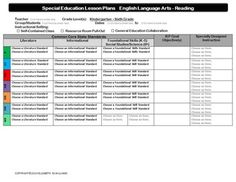 Combined K Common Core Special Education Interactive Lesson Plan