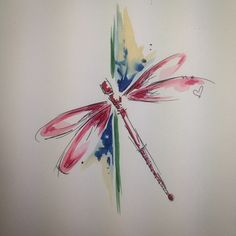 Simple dragonfly design #watercolour #watercolourtattoo #dragonfly #tattoodesign…