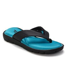 Look at this FILA Black & Athletic Blue Amazen Memory Portal Flip-Flop on #zulily today!
