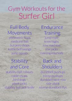 GYM WORKOUTS FOR THE SURFER GIRL