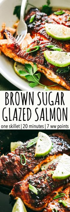 Brown Sugar Glazed Salmon Recipe – Crispy on the outside, tender on the inside, this sweet and tangy salmon recipe is an easy weeknight meal that will quickly have everyone coming back for seconds. #salmon