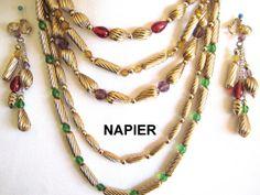 NAPIER Vintage Necklace Dangle Earrings by VintageJewelryMeadow, $225.00