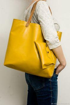 Julia Jukova Leather bags Купить Сумка пакет из натуральной кожи Тоут горчичный рыжая сумка - желтый, сумка кожаная