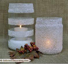 Csak só, ragasztó és egy befőttes üveg kell a gyönyörű karácsonyi mécsestartóhoz!