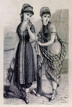 1878. La moda elegante ilustrada. Trajes de baño.