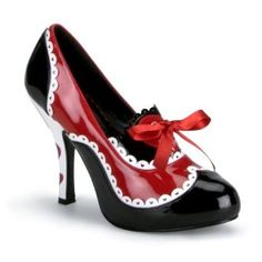 4 Inch Heel Sexy Sheos Queen of Hearts Costume Shoe Cartoon Pump Shoe Black Red White Size - Price:$54.99