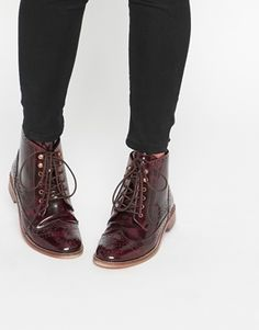 ASOS ARTIST Leather Brogue Lace Up Boots